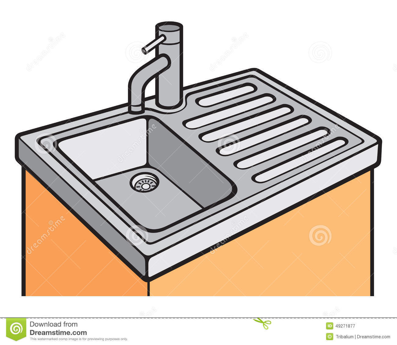 Kitchen sink stock vector. Image of pipe, furniture, handle - 49271877