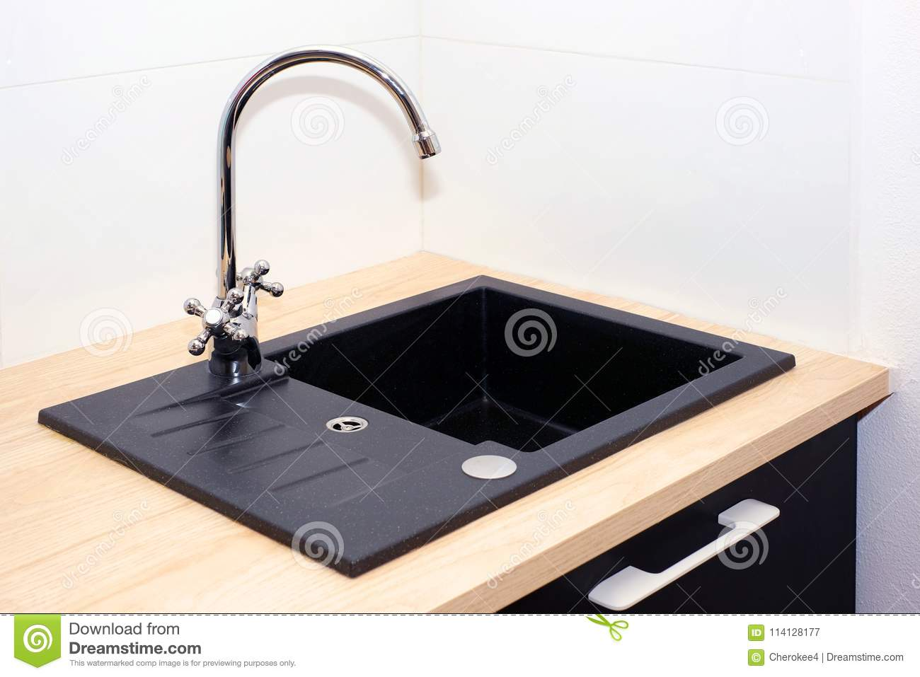 Kitchen Sink And Water Tap In The Kitchen In A Modern ...