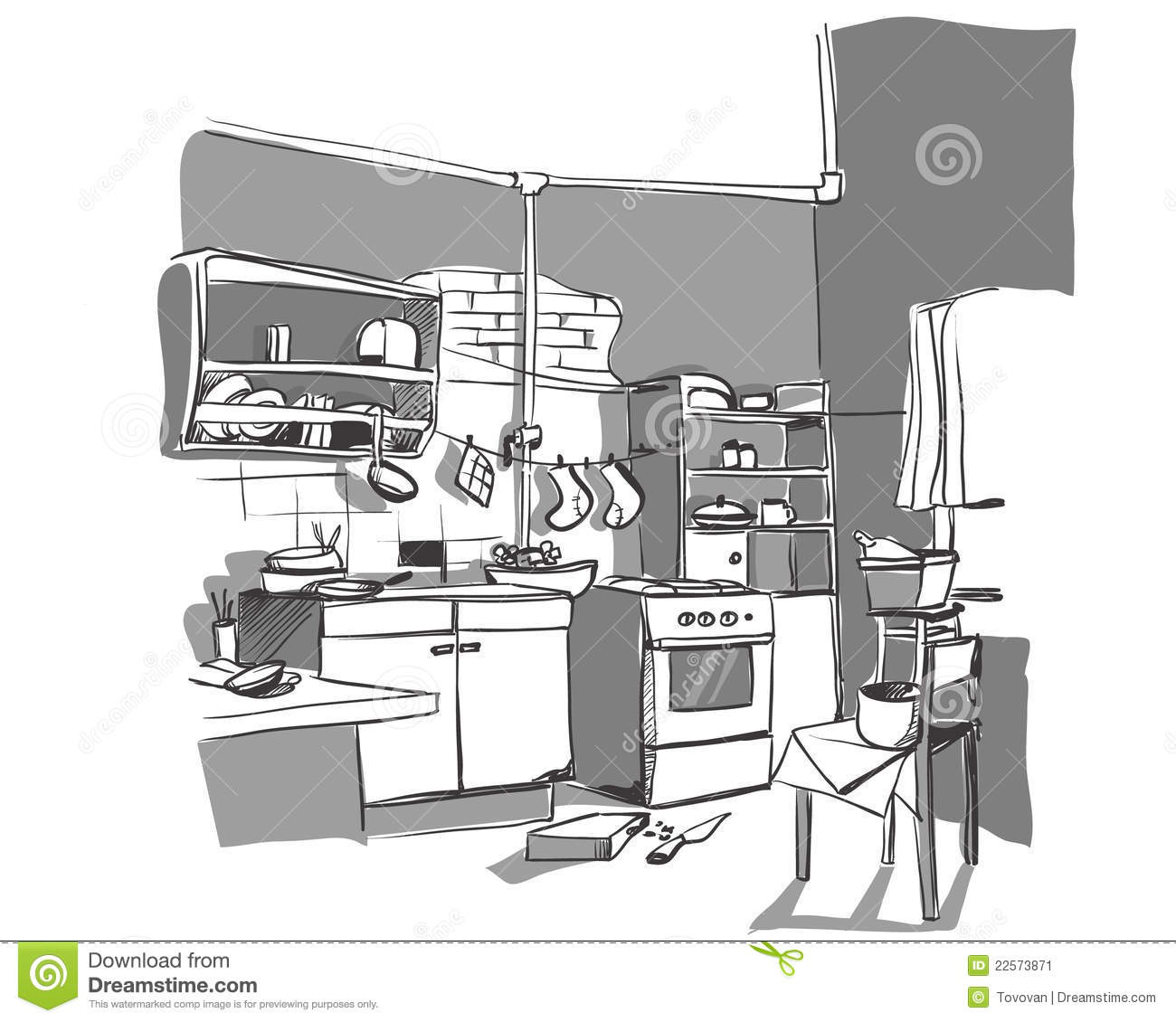 Kitchen Sketch Stock Vector. Illustration Of Disorder