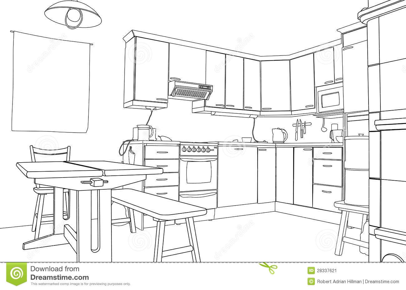 Kitchen sketch stock image image 28337621 for Kitchen setting pictures