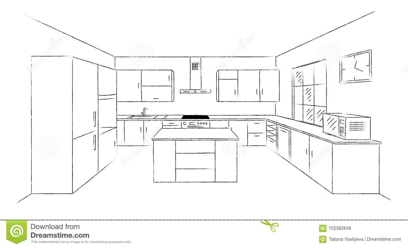 Kitchen Sketch 3d Stock Vector Illustration Of Dishwasher