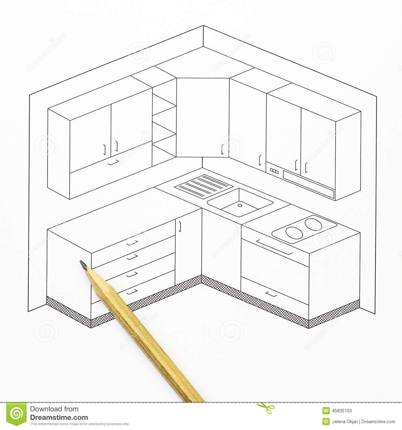 Kitchen Sketch Stock Photo