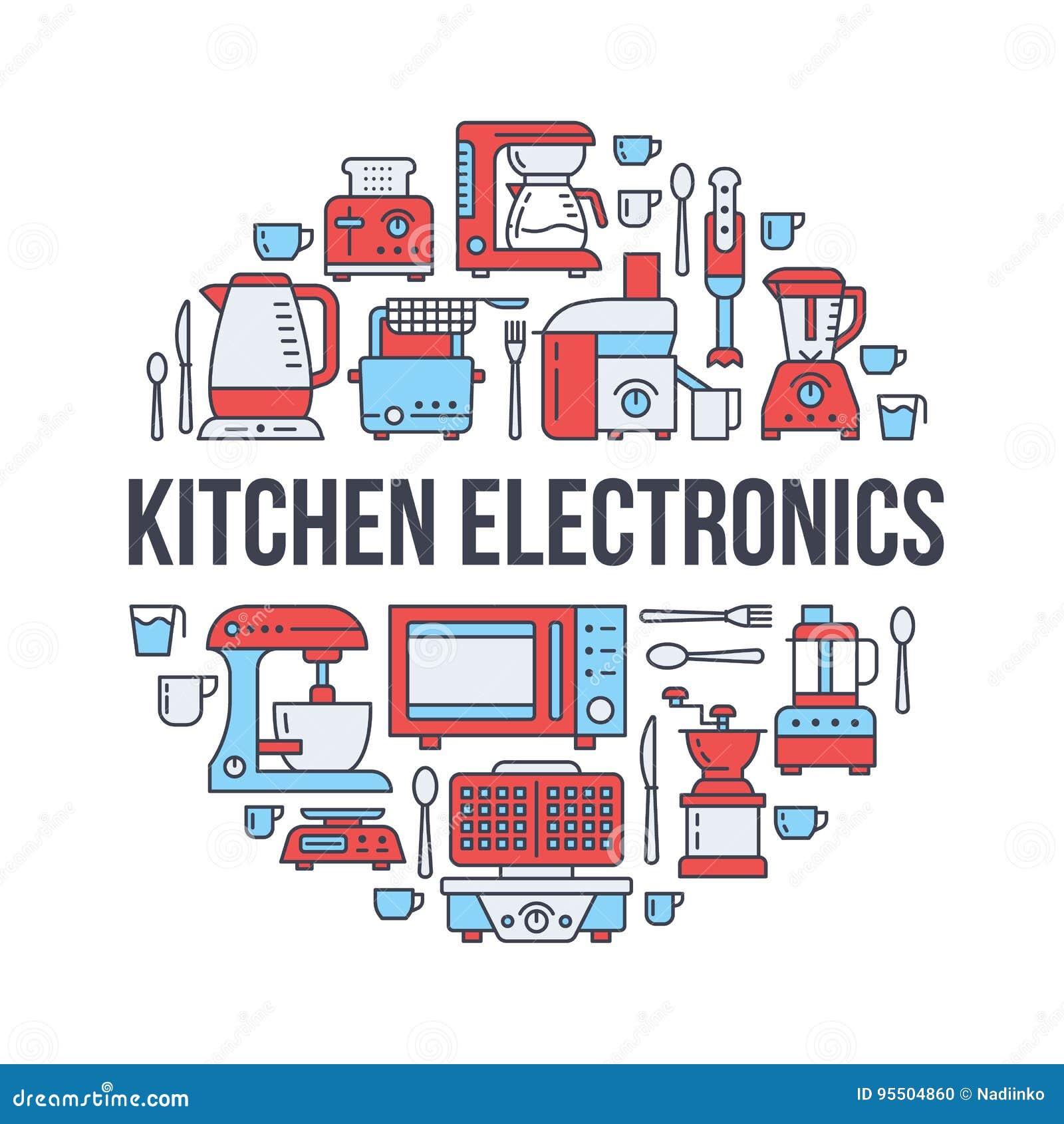 Kitchen Small Appliances Equipment Banner Illustration. Vector Line ...