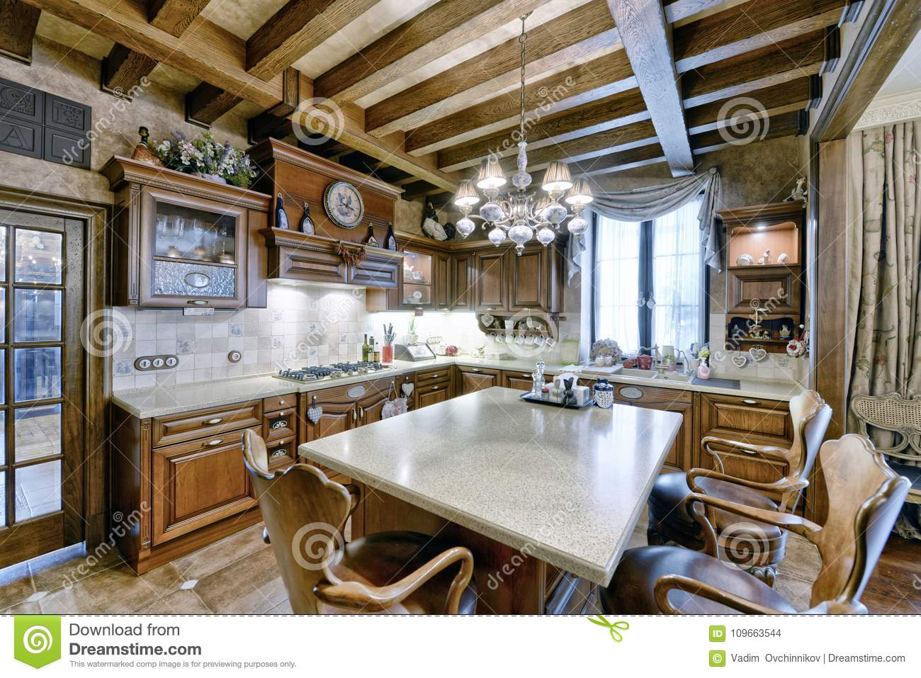 Kitchen design in wooden home interior