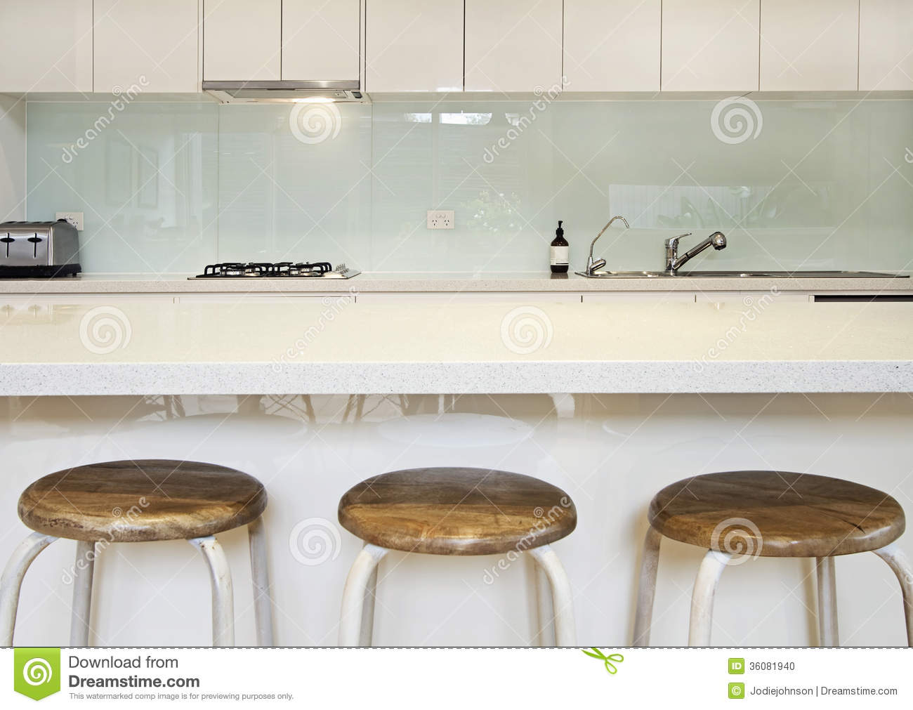Kitchen Splashback Bench And Stools Stock Photo Image Of