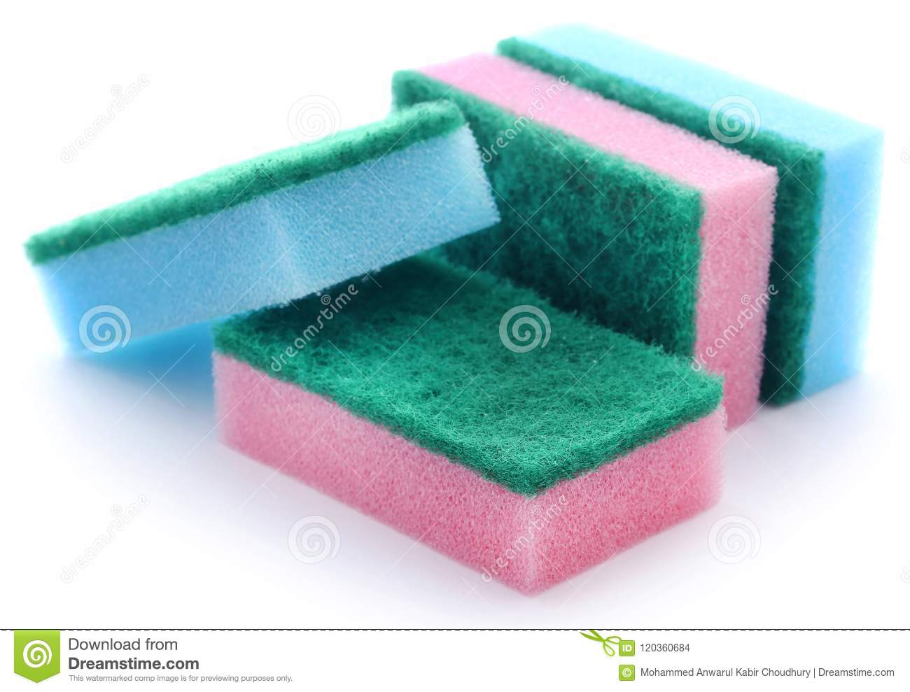 Kitchen Sponge With Scotch Brite Stock Photo - Image of dish