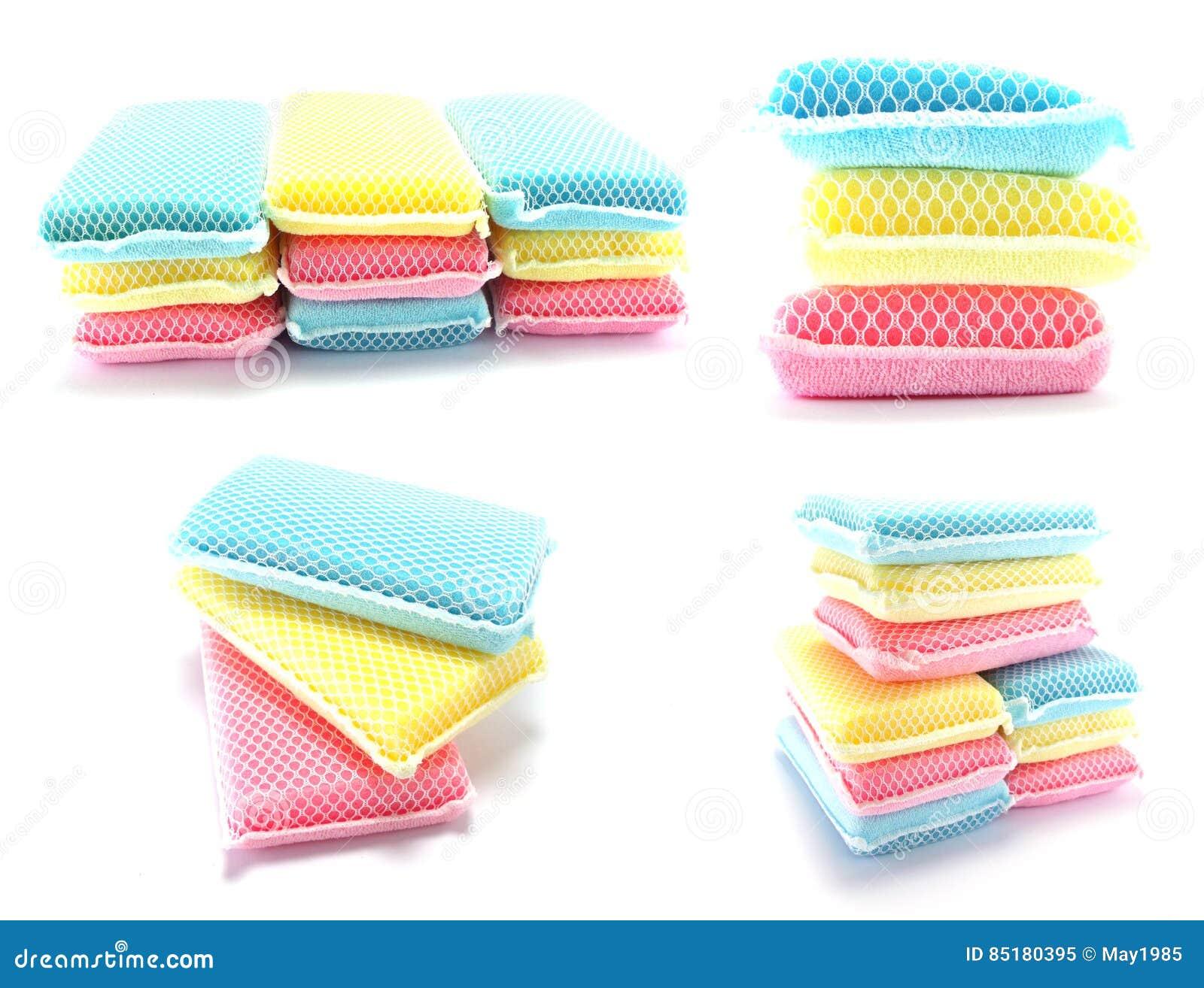 Kitchen Sponge For Washing Dishes On White Background Stock Image ...