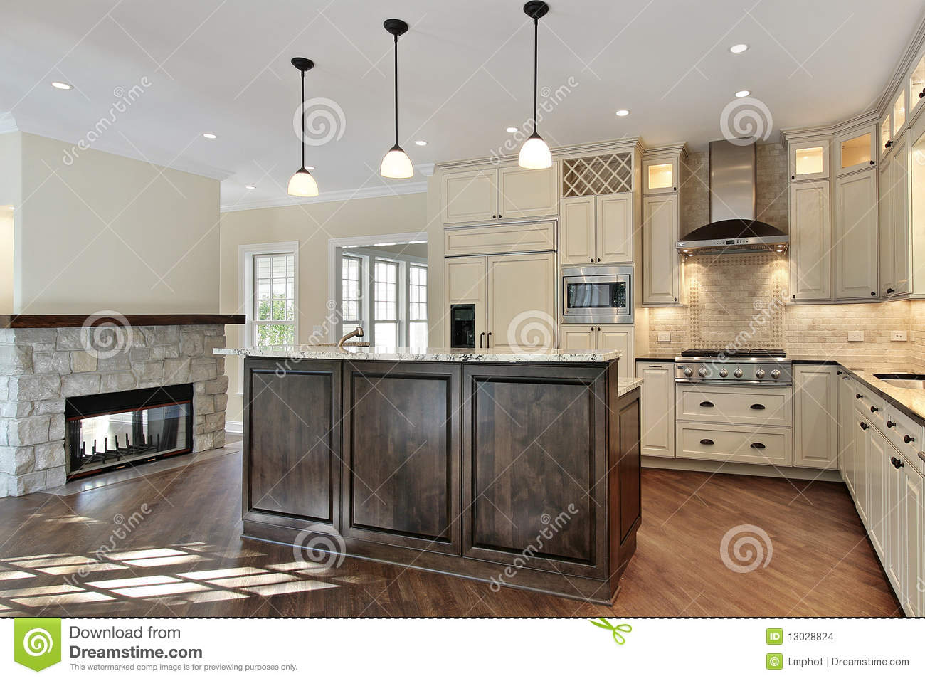 Kitchen With Stone Fireplace Stock Images Image 13028824