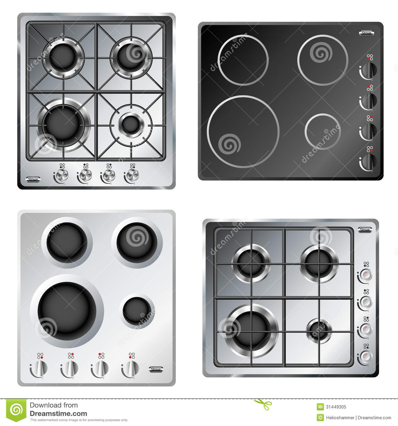 Kitchen Stove Hob Set Stock Image Image Of Fire