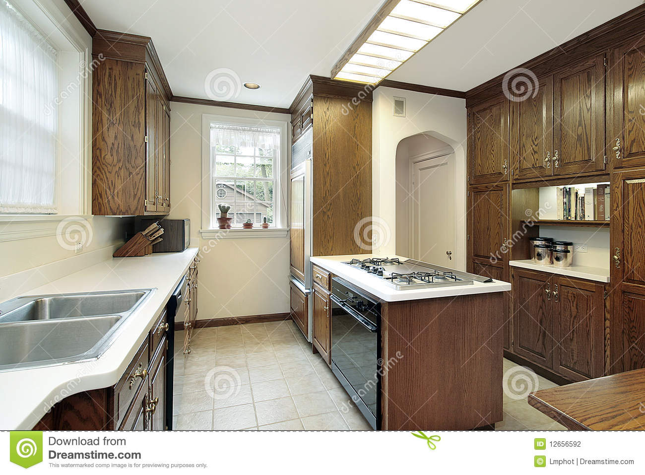 Kitchen with stove top island stock photography image 12656592