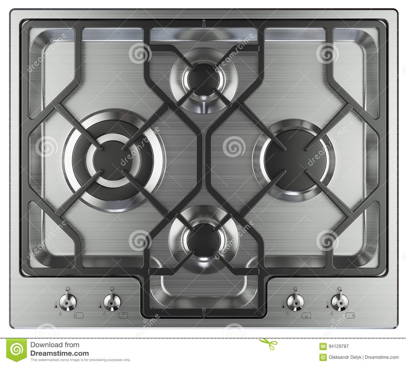 Kitchen Stove Top View Stock Illustration - Image: 94129787