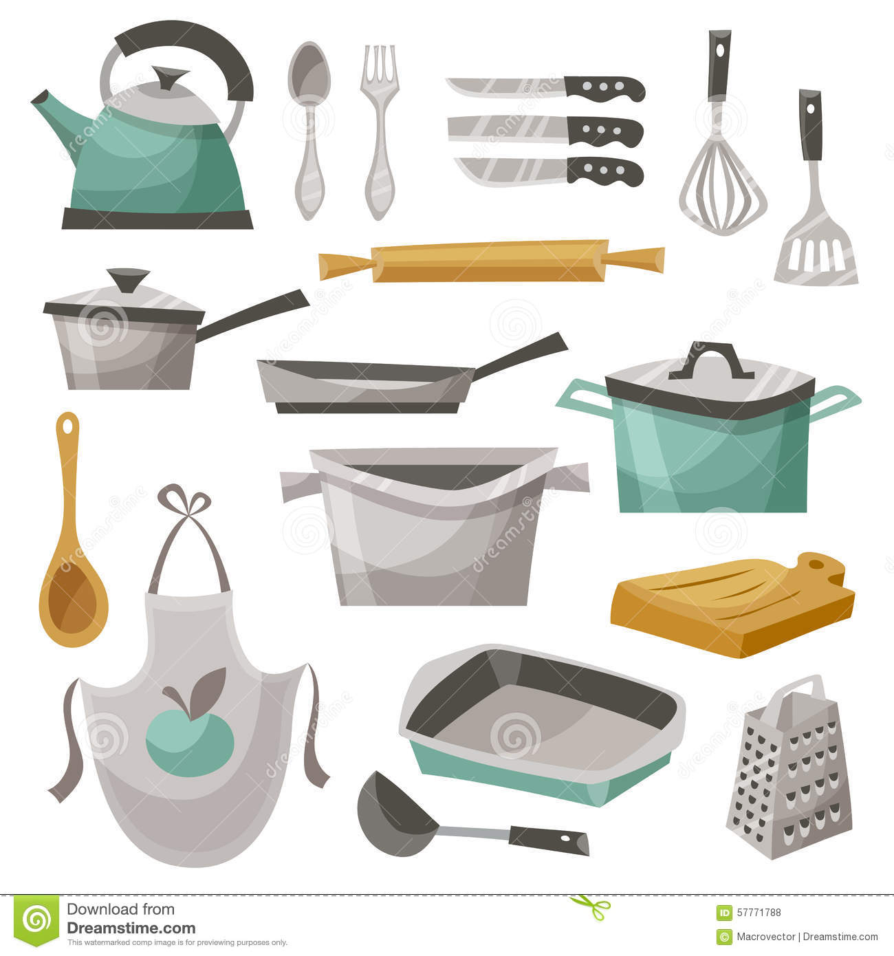 kitchen stuff icons set apron frying pan teapot flat vector illustration 57771788