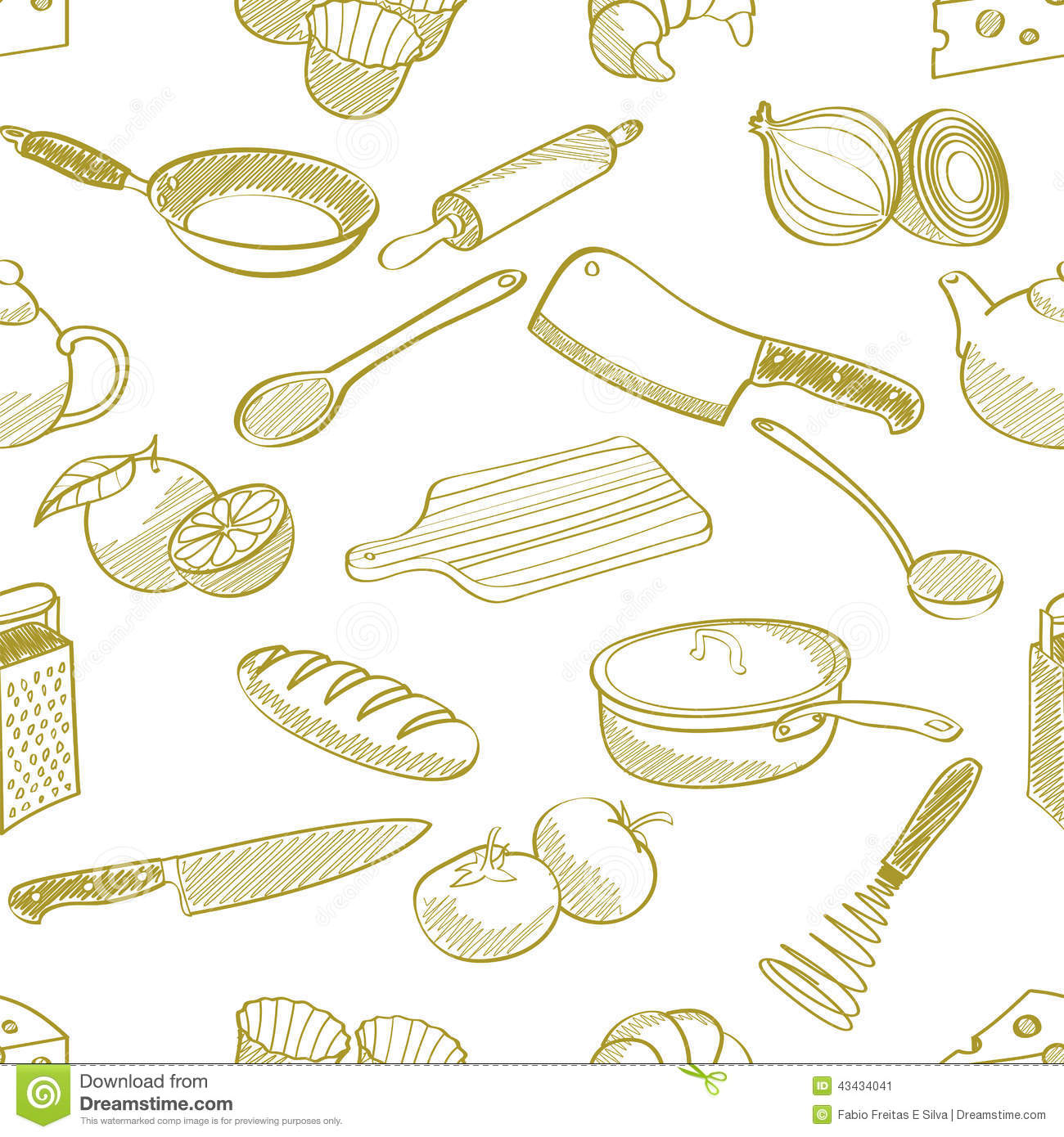 kitchen stuff seamless pattern stock illustration image 43434041