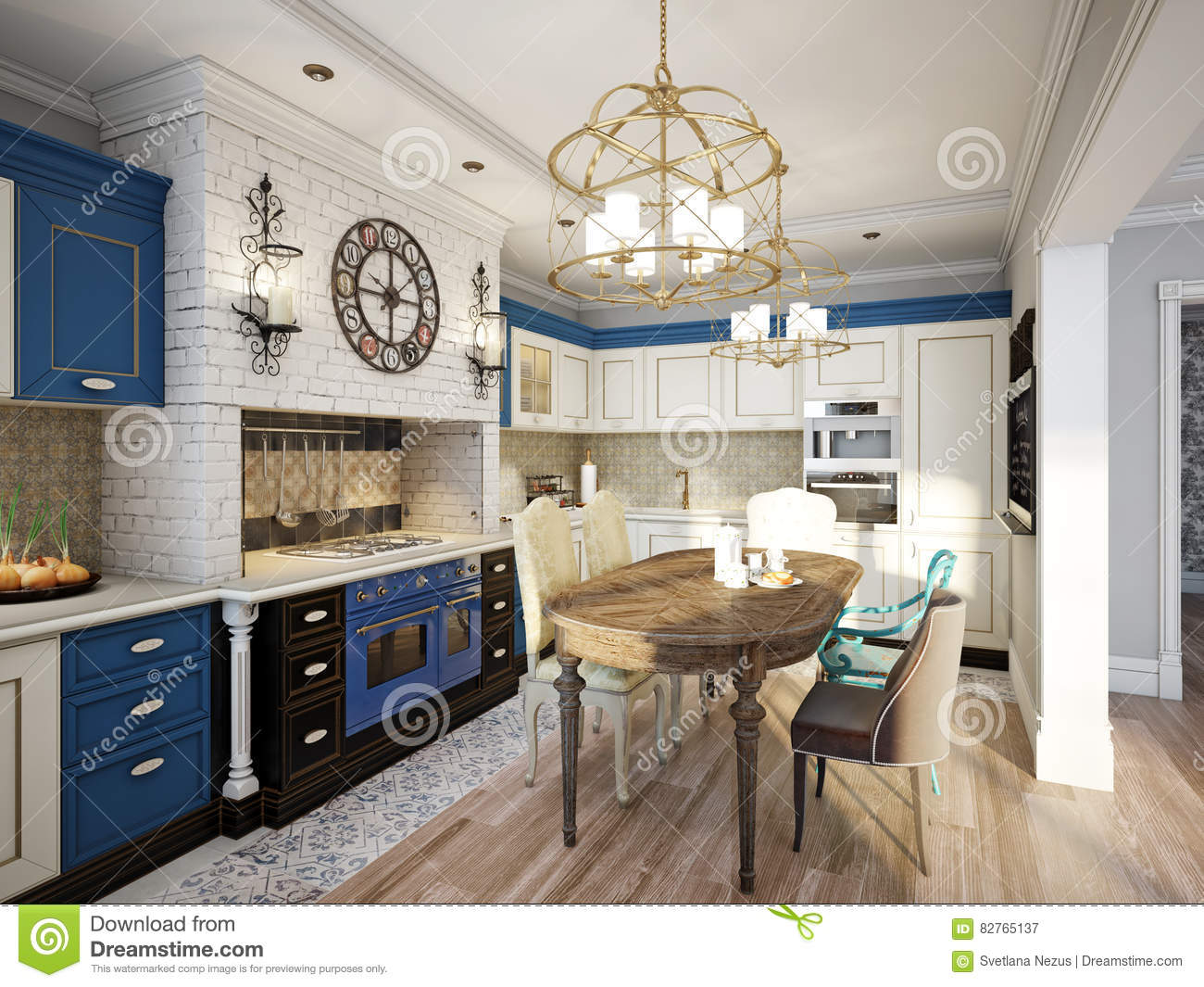 Kitchen in style of provence stock illustration image for Provence kitchen design