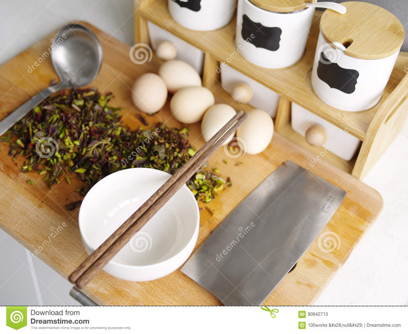 Kitchen supplies stock photo image 90642713 - Cutting board with prep bowls ...