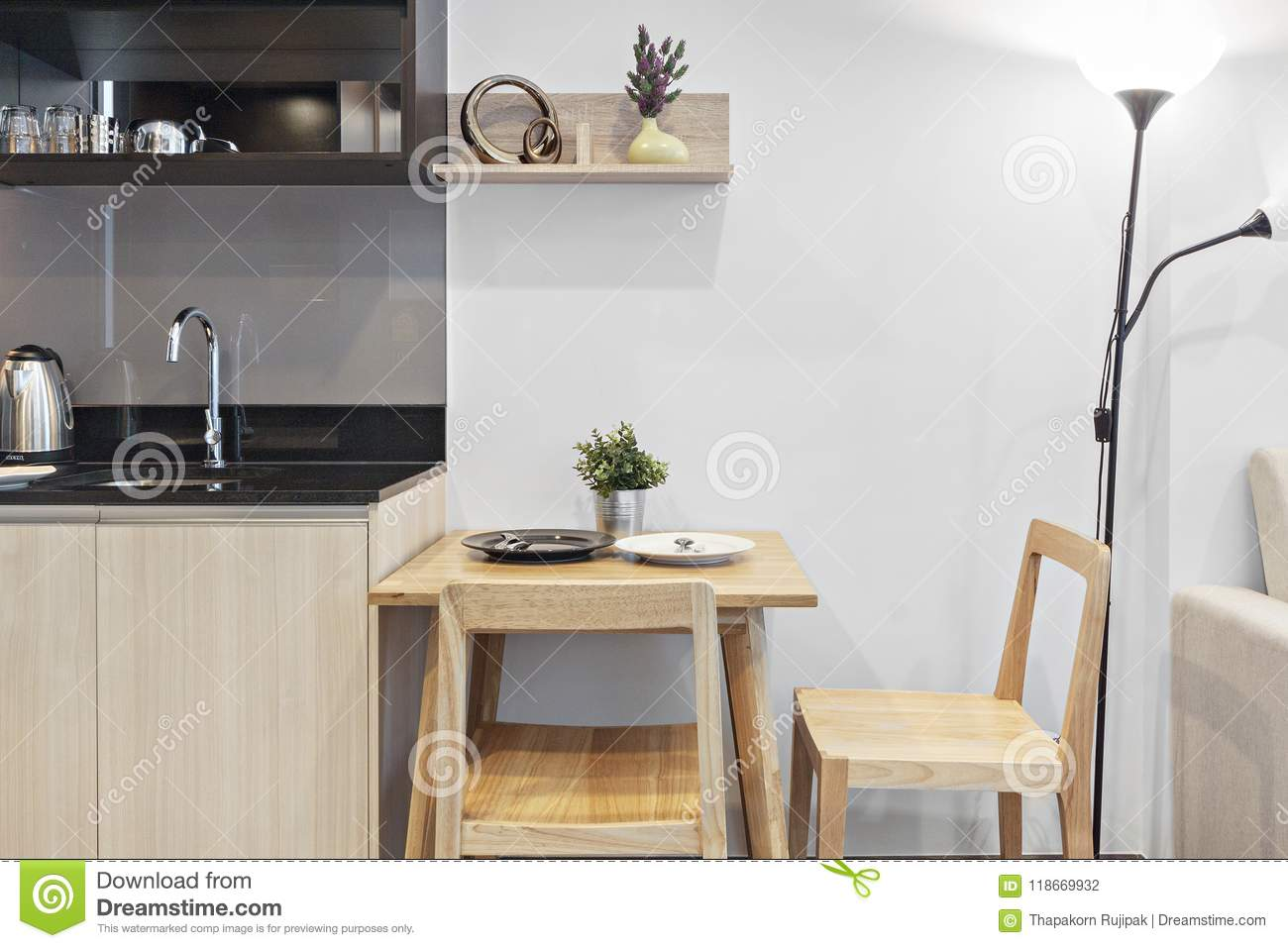 Pleasant Kitchen And Table Dinning In Condominium Stock Photo Image Complete Home Design Collection Epsylindsey Bellcom