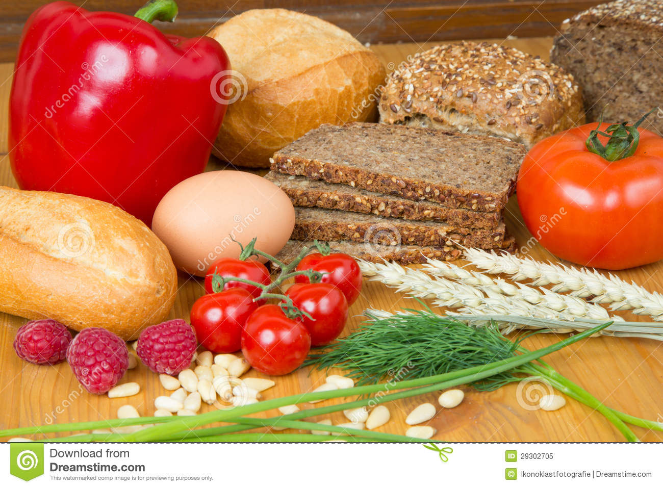 Kitchen Table With Food Kitchen Table With A Lot Of Food Like Bread And Vegetables Royalty