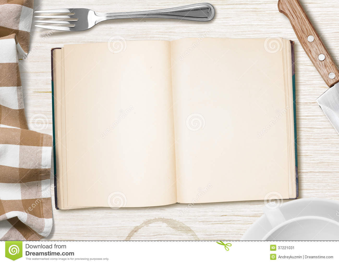 Kitchen Table With Open Book Or Copybook For Cooking