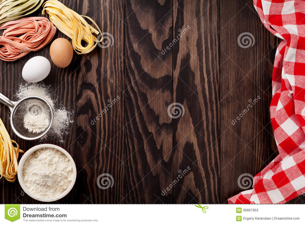 Kitchen table with utensils and ingredients royalty free for Table utensils