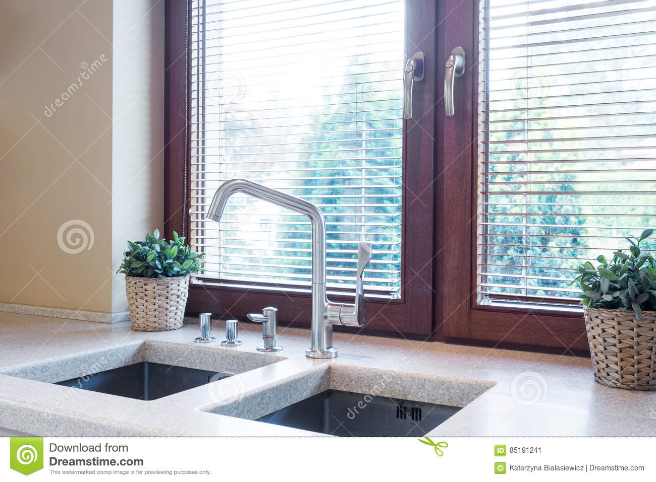 Kitchen Tabletop With Two Sinks Stock Image - Image of sink, well ...