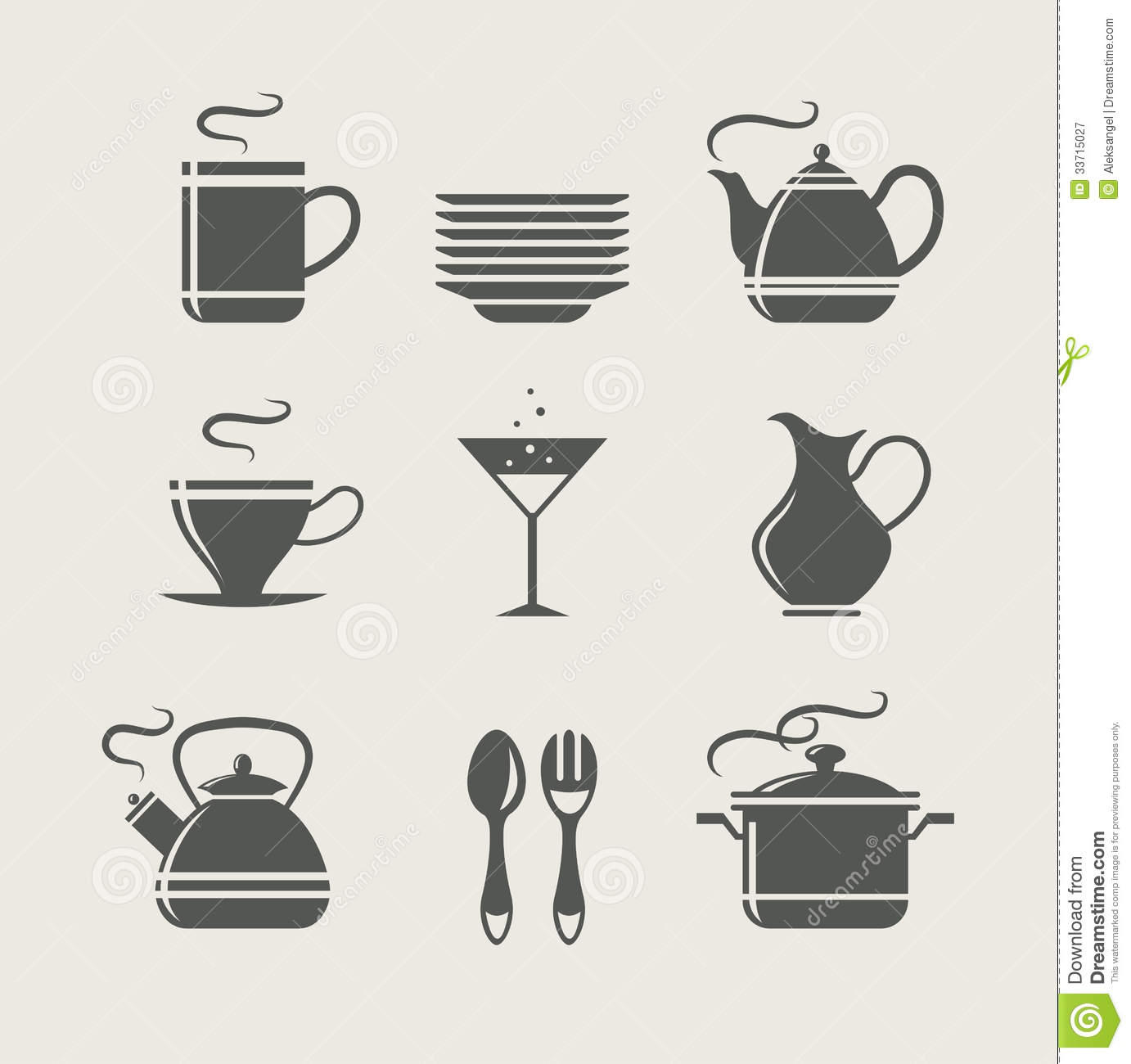 Kitchen tableware set of icons stock vector image 33715027 for Kitchen set vector