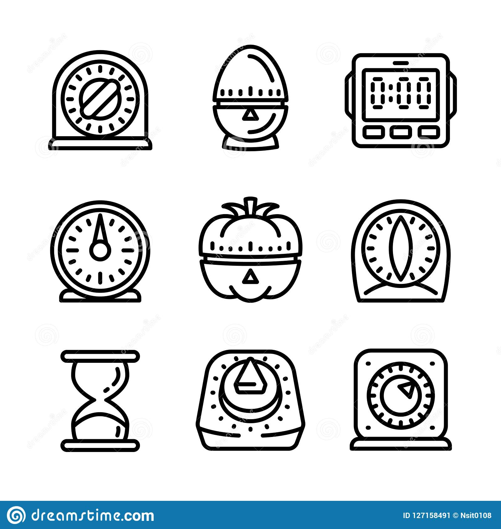 Kitchen Timer Icon Set, Outline Style Stock Vector