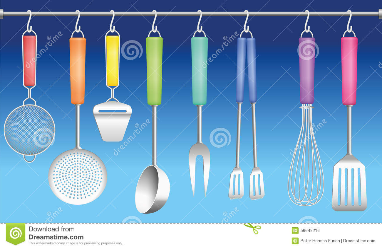 Kitchen tool hanger colors cutlery stock vector image for Colorful kitchen tools