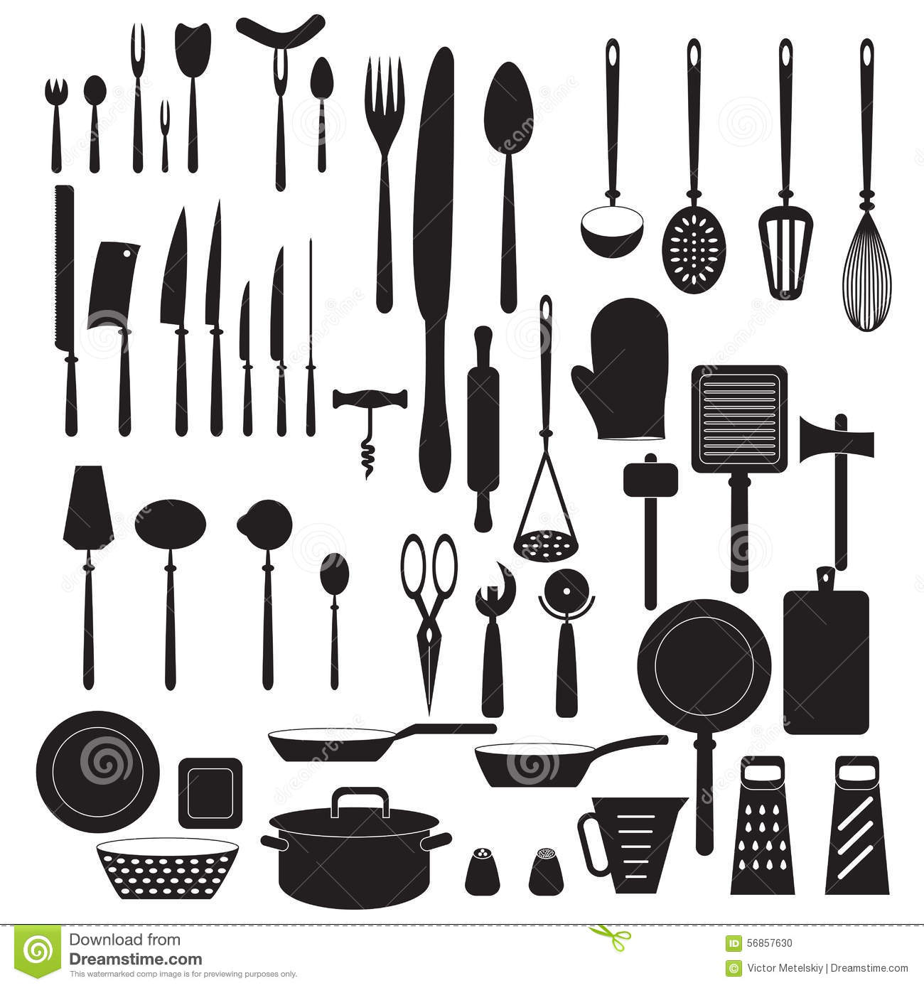 Kitchen tool icons set vector silhouettes stock vector image 56857630 Kitchen diner design tool