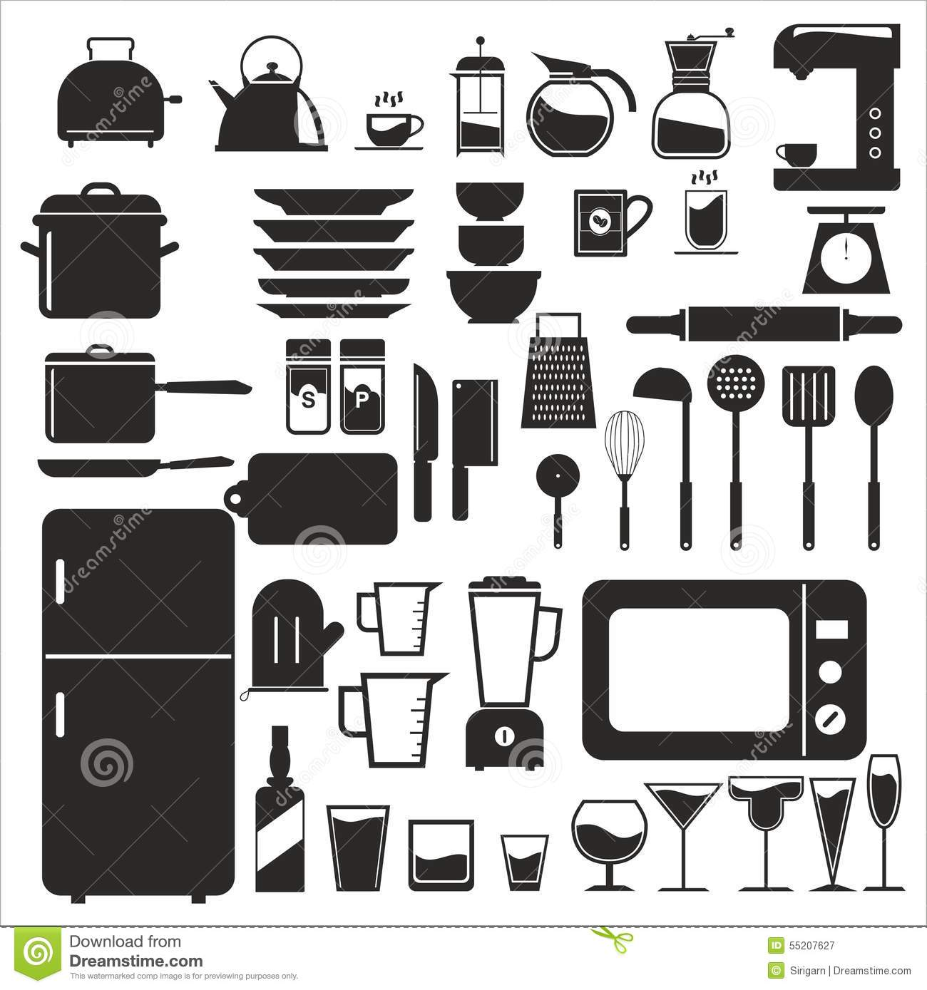 Kitchen tool kitchen vector icon set stock vector image for Kitchen set vector
