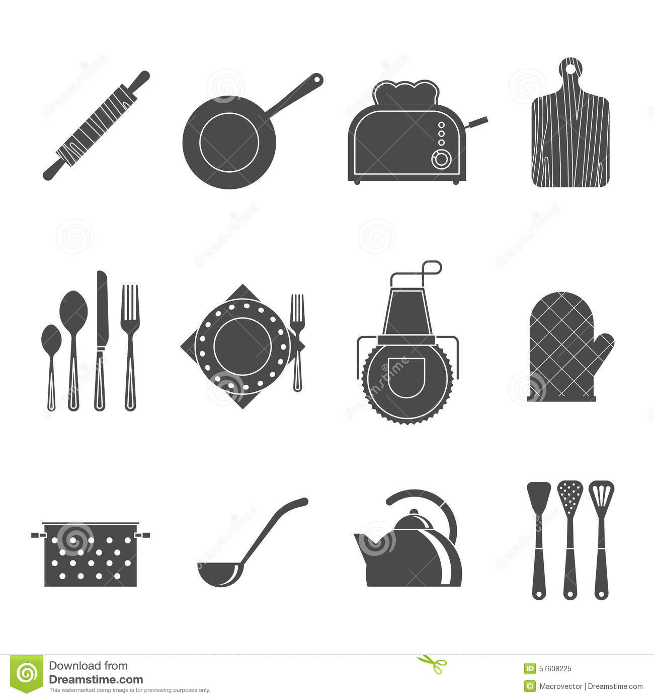 Set Of Black Kitchen Icons Utensils Stock Vector: Kitchen Tools Accessories Black Icons Set Stock Vector