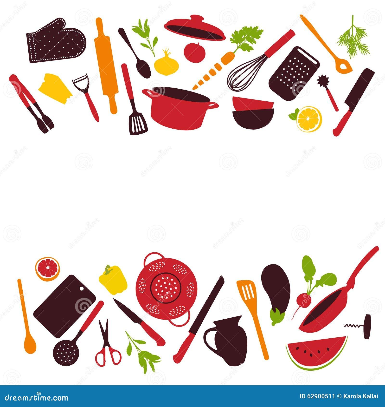 Kitchen Utensils Background: Kitchen Tools Background Stock Vector. Image Of Herbs