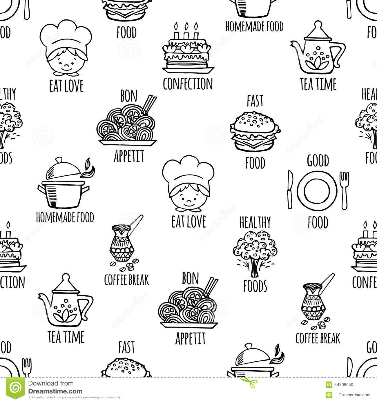 Kitchen Tools Black And White Seamless Pattern Vector. Stock Vector ...