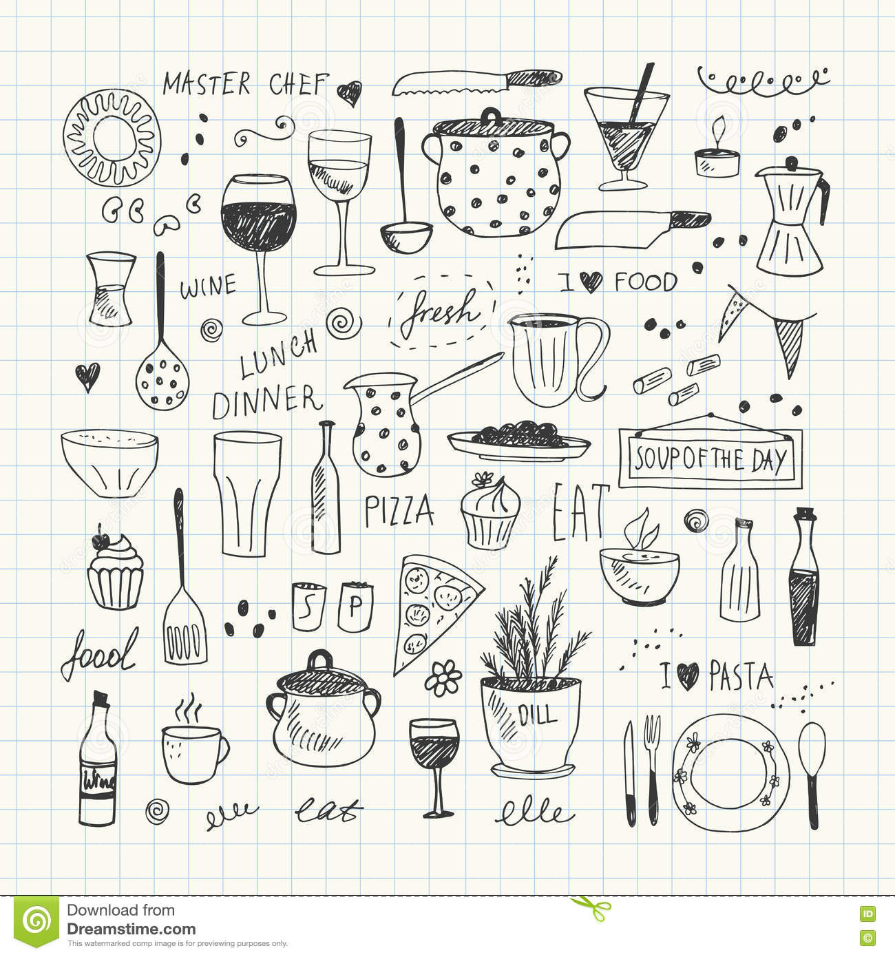 Kitchen tools drawing - Doodle Drawing Drawn Hand Kitchen