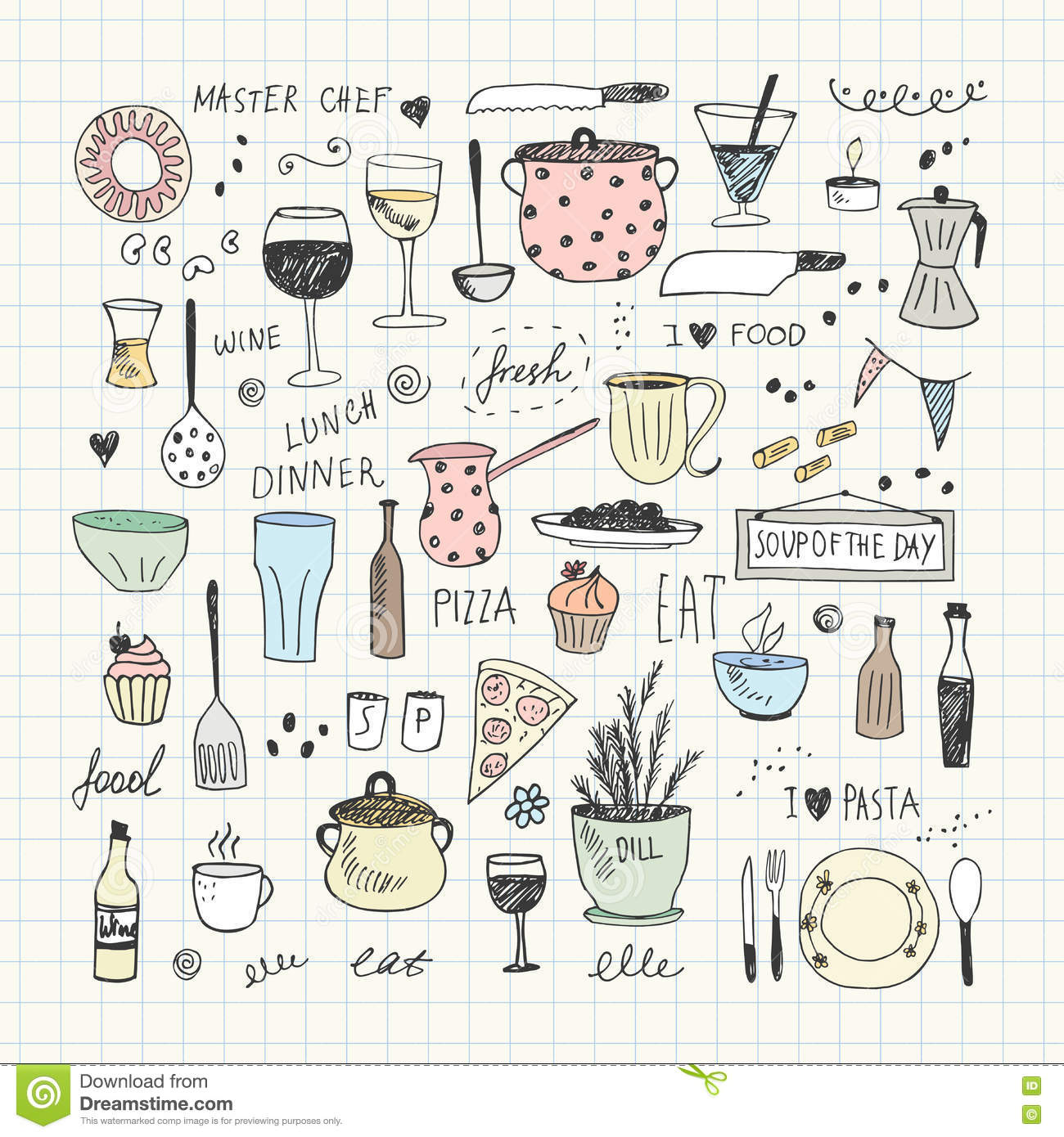 Kitchen Tools Doodle Set Hand Drawn Vector Illustration Stock Vector Image 77909807