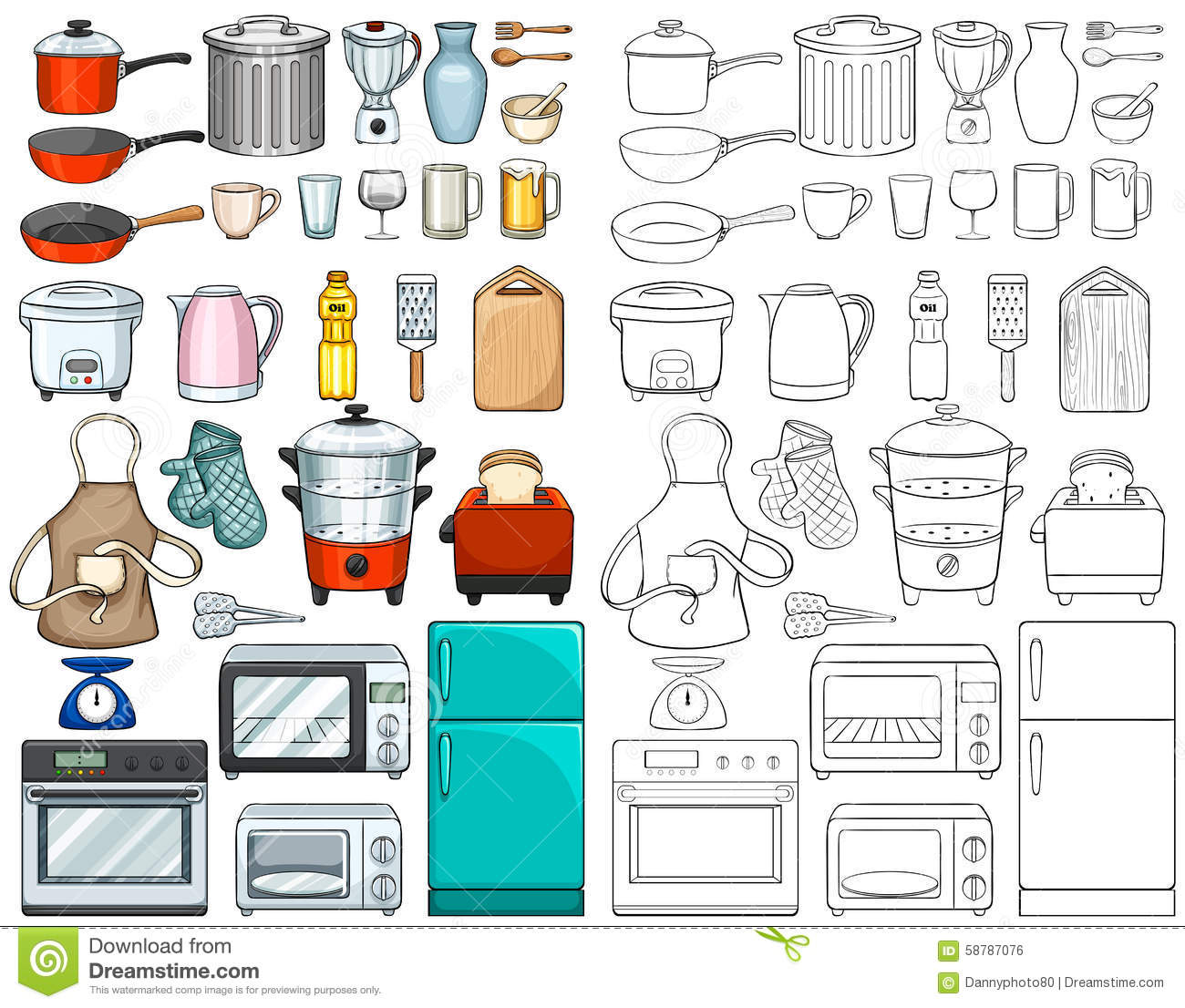 Kitchen Tools And Equipments Stock Vector Image 58787076