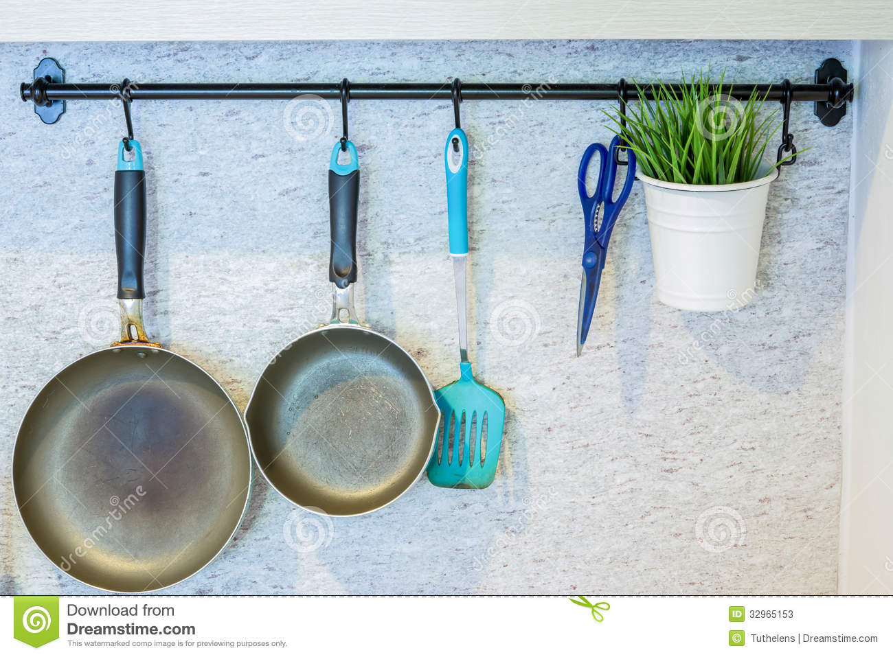kitchen tools hanging on the wall stock photos image