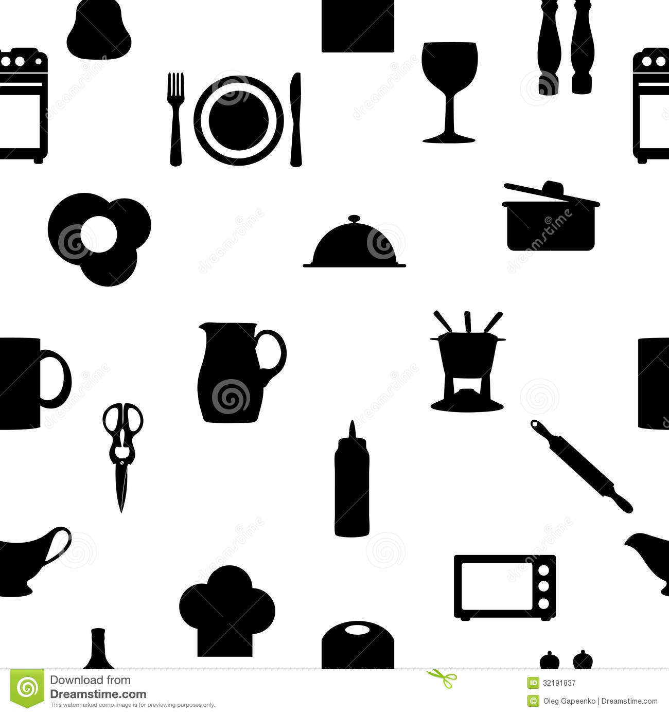 Kitchen Utensils Silhouette Vector Free kitchen tools icons silhouette seamless pattern royalty free stock