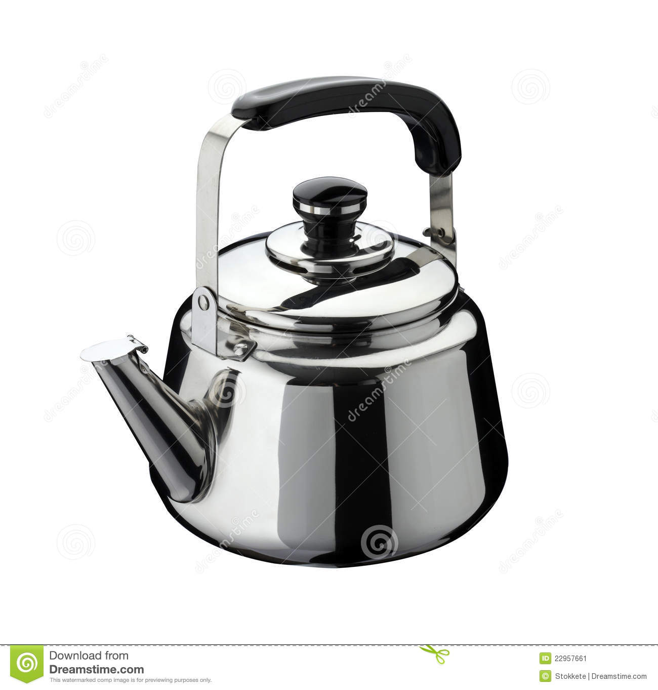 Kitchen Tools Kettle On Stainless Steel Stock Image