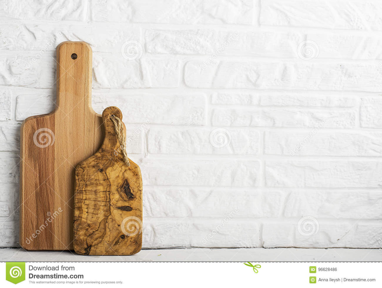 Kitchen Tools Olive Cutting Board On A Kitchen Shelf Against A White Brick Wall Selective Focus Stock Photo Image Of Canteen Buffet 96628486
