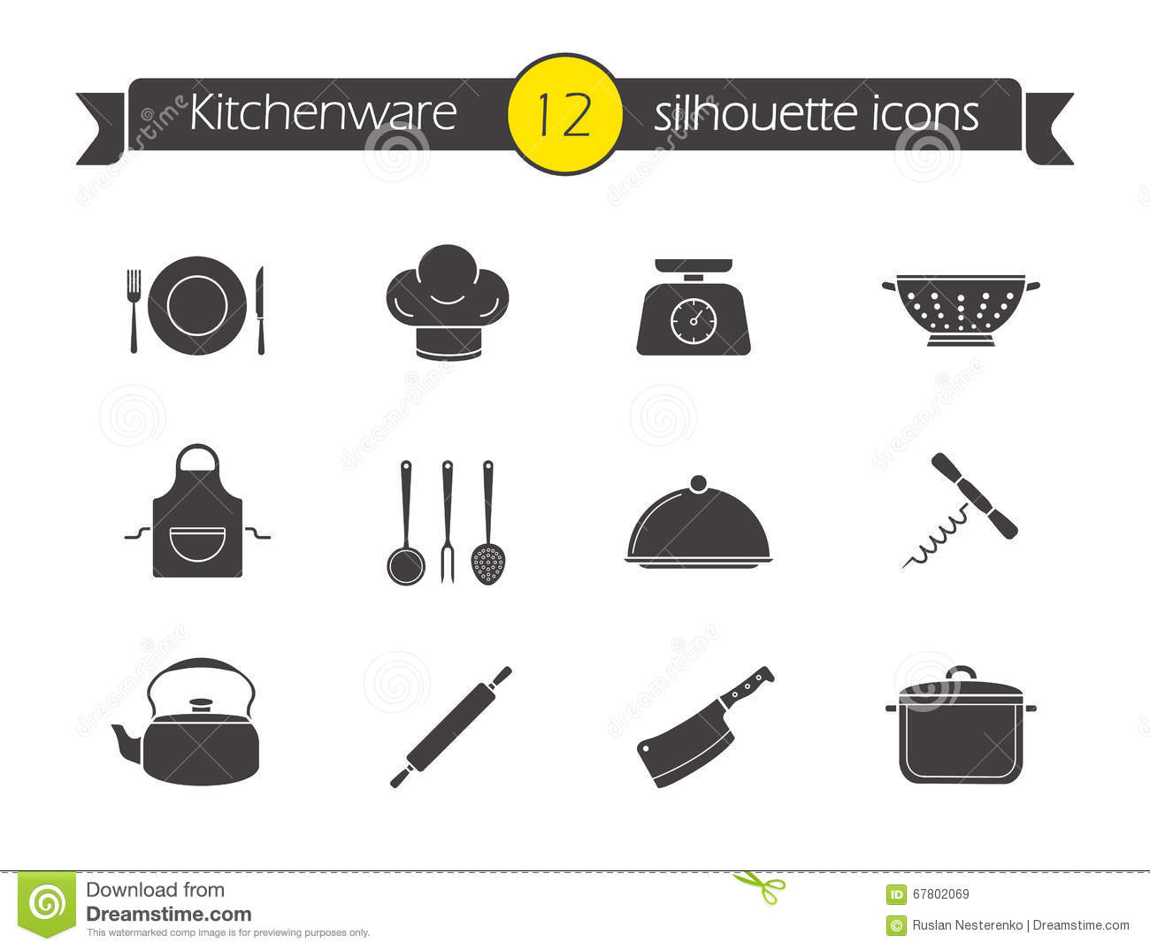 Kitchen Tools Silhouette Icons Set Stock Vector - Illustration of