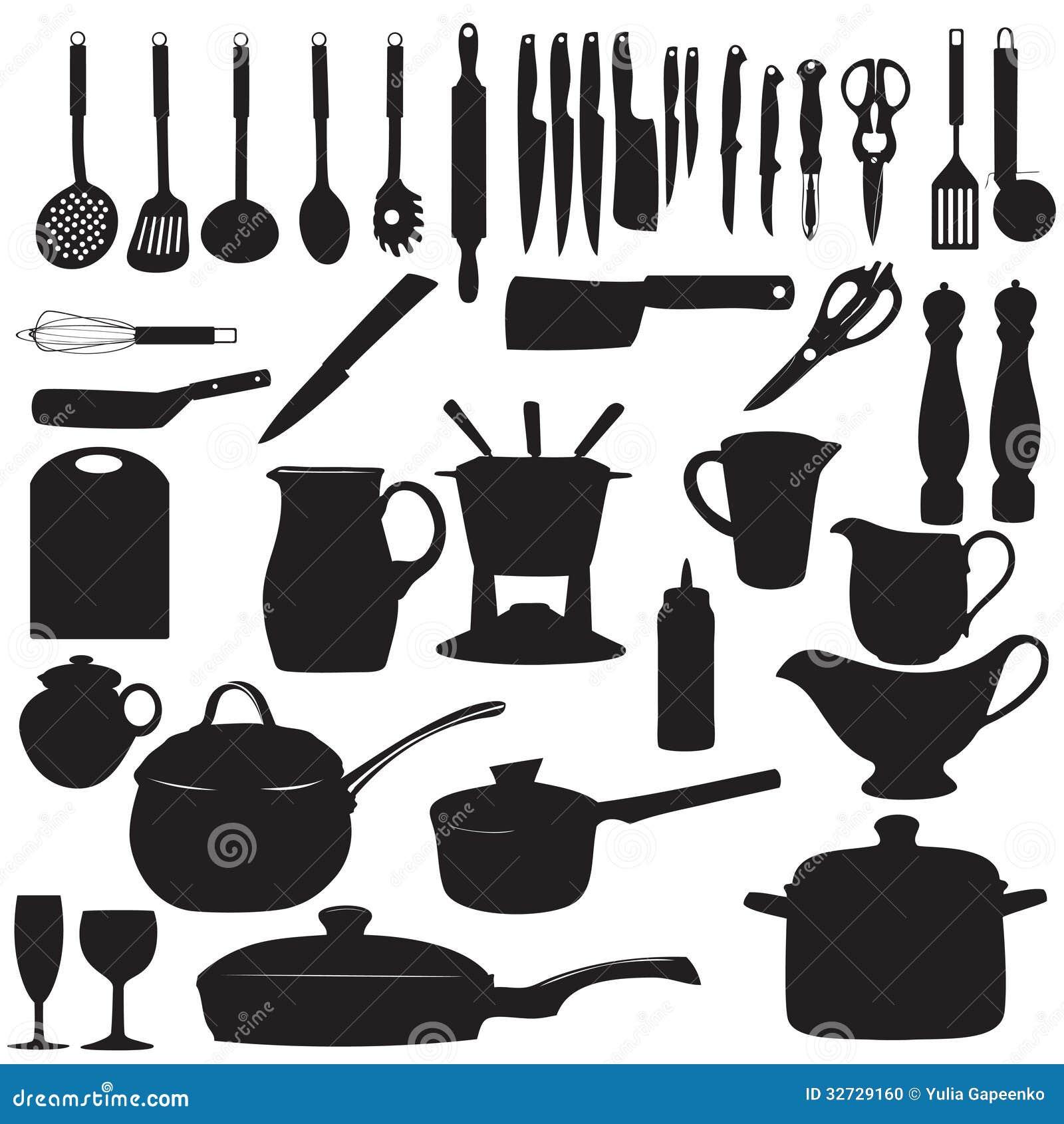Kitchen Tools Silhouette Vector Illustration Stock Vector