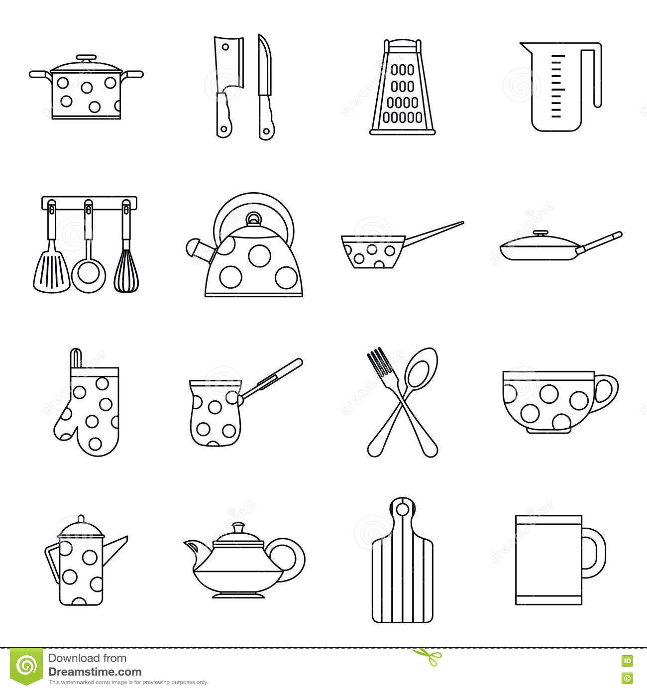 Kitchen Tools And Utensils kitchen tools and utensils icons, outline style stock vector