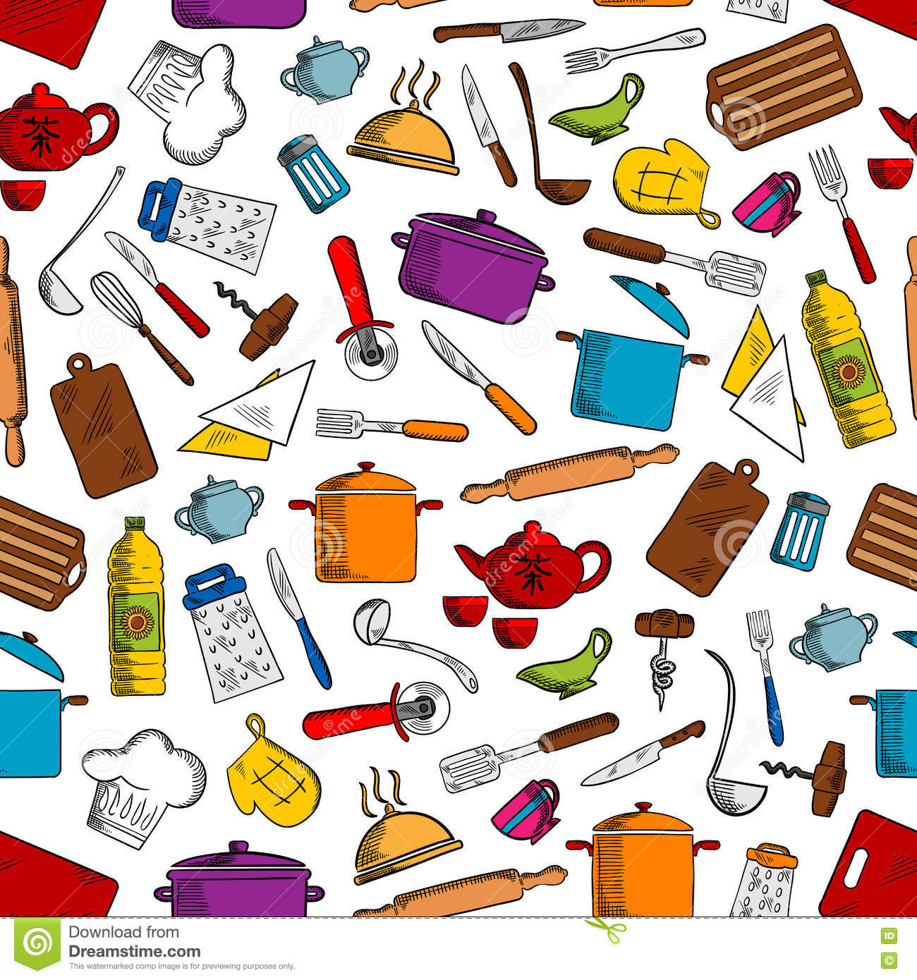 Kitchen Tools And Utensils Seamless Pattern Stock Vector ...