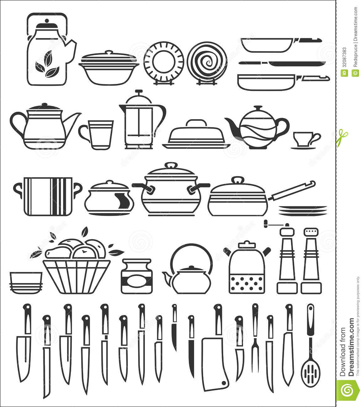 kitchen tools and utensils vector illustration stock photos image 32087383. Black Bedroom Furniture Sets. Home Design Ideas