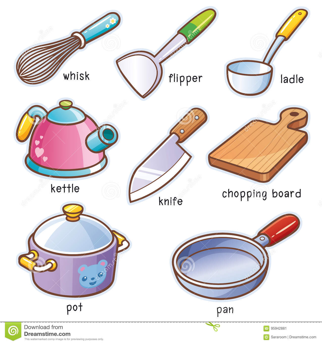 Kitchen cartoons illustrations vector stock images for Kitchen utensils vocabulary