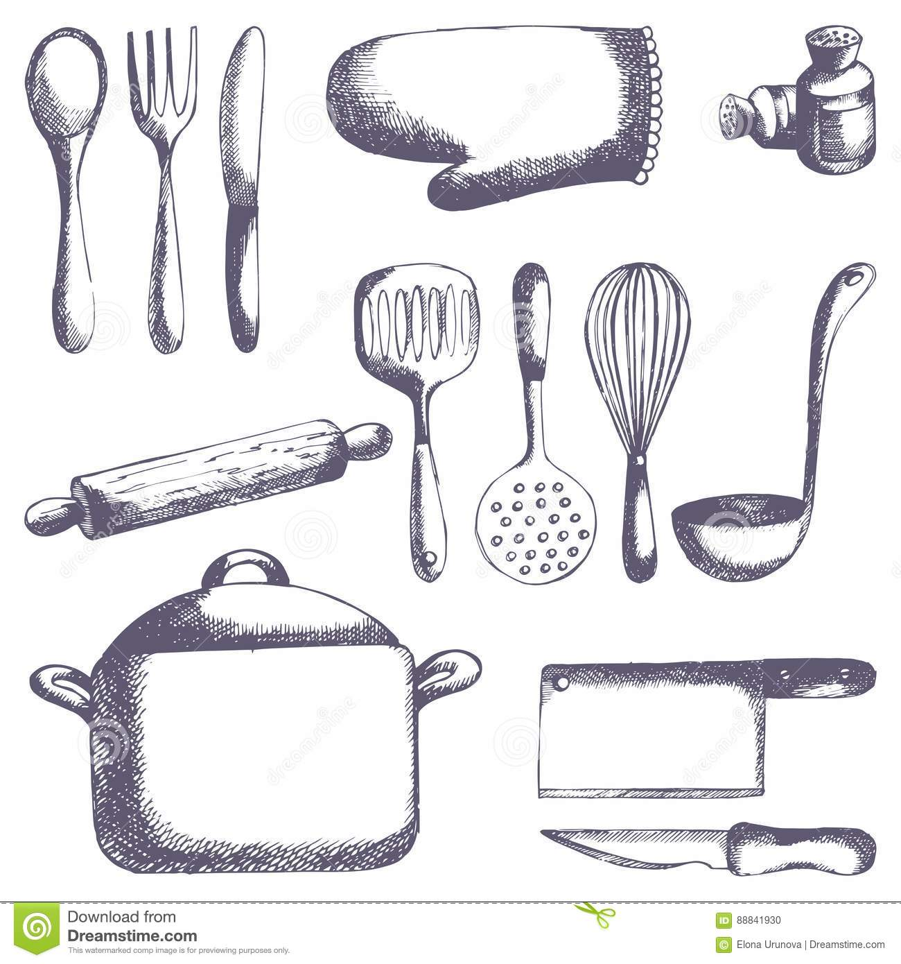 Kitchen Tools Vector Set Hand Drawing Stock Vector Illustration