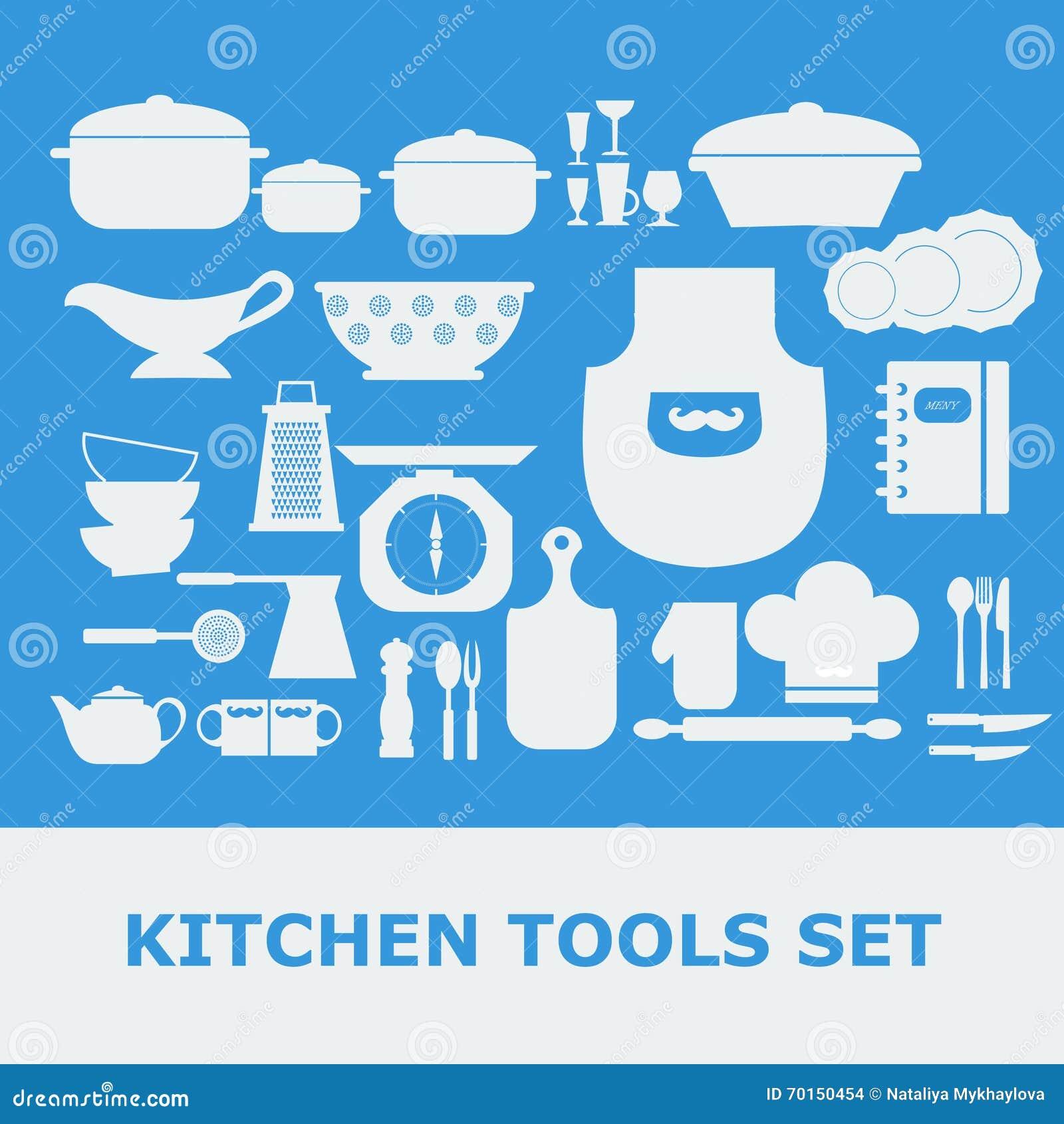 Kitchen Tools White Silhouette Vector Icons Set Stock Illustration ...