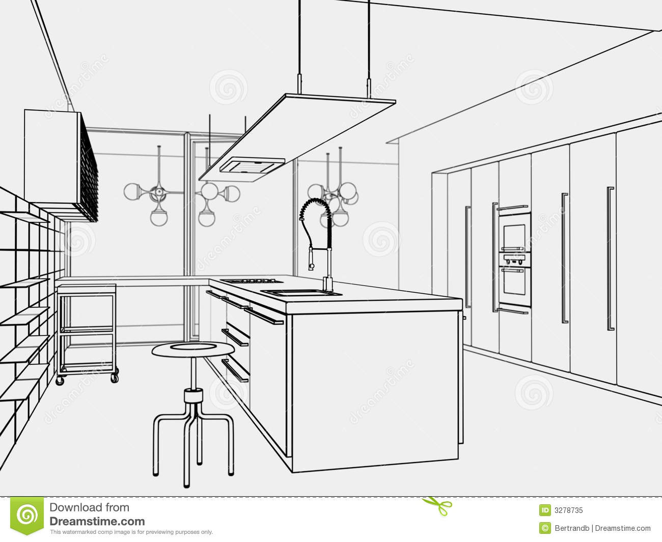 Kitchen toon style stock illustration illustration of for Decor outline