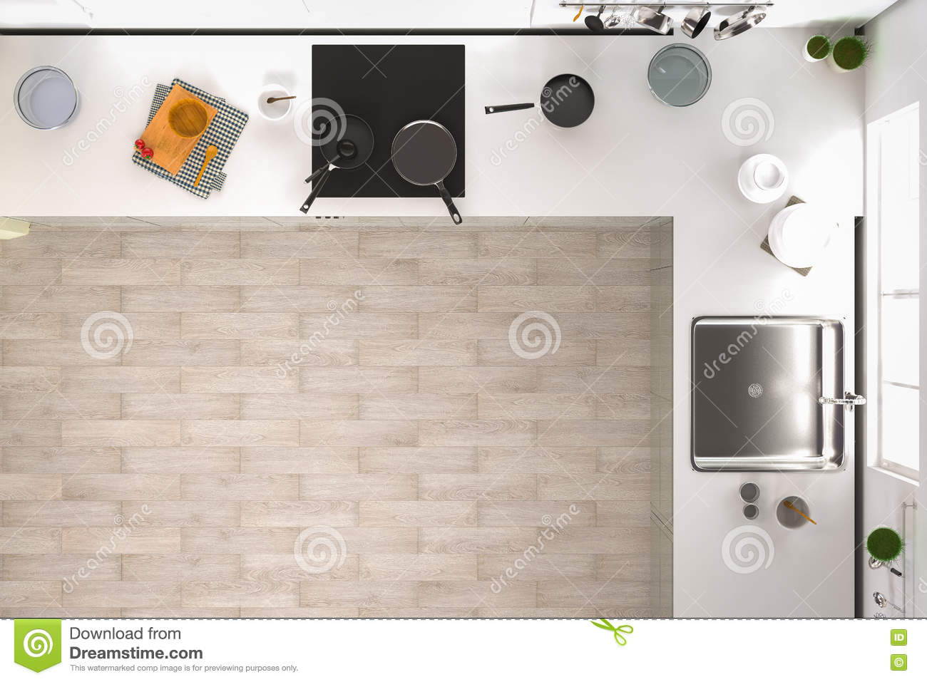 Kitchen Top View Stock Illustration. Illustration Of Home