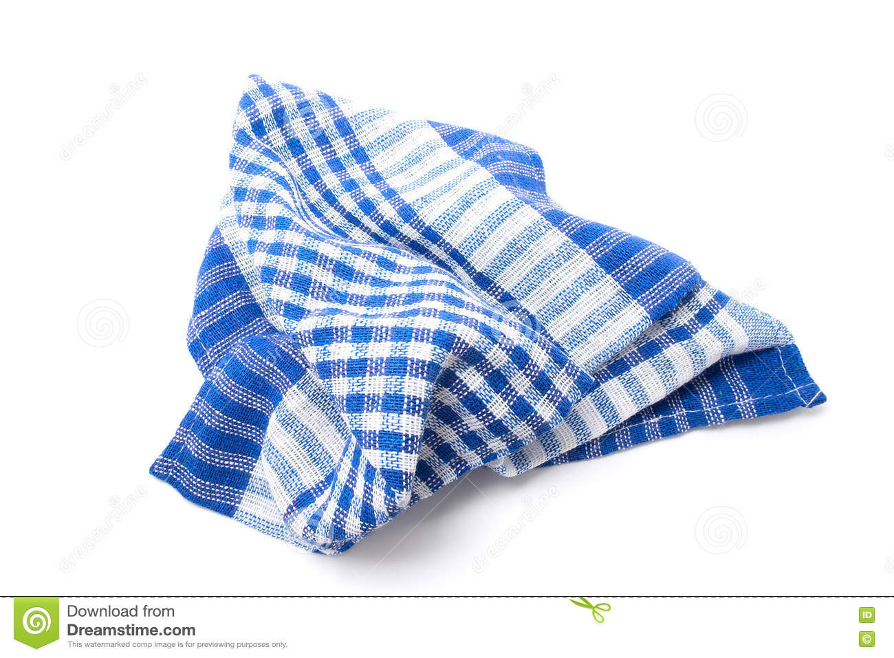 Blue And White Kitchen Towel. Isolated On White Background